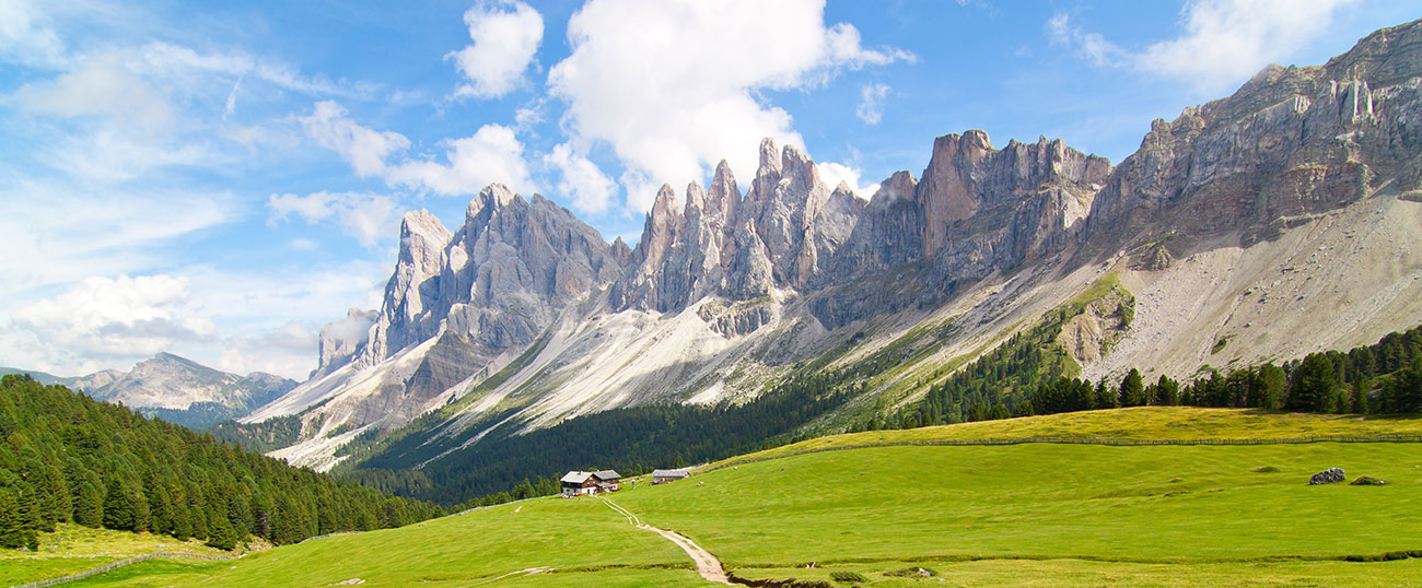 A wonderful panorama view of the Dolomites by clear blue sky
